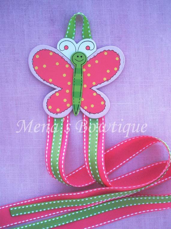 Butterfly bow holder in pink and green by MenasBowtique on Etsy, $6.00