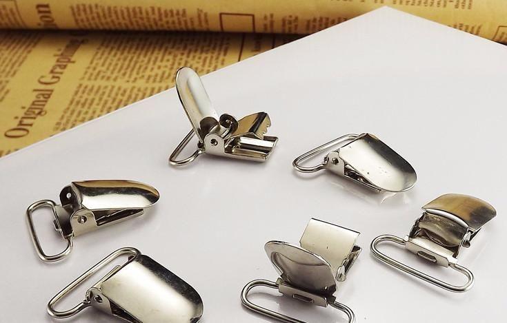 Silver metal suspender clips