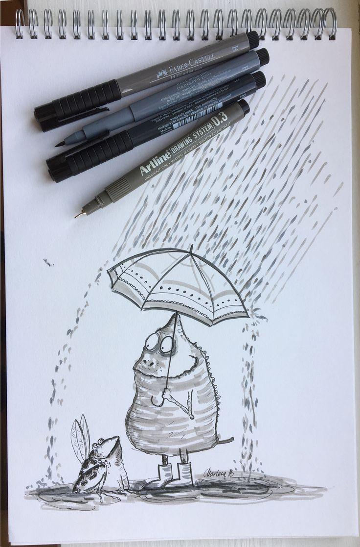 #Drawing by Marlene Jørgensen. Faber Castell Pitt pen shades of grey and artline pen #inktober #inktober2016 #frog #rain #umbrella