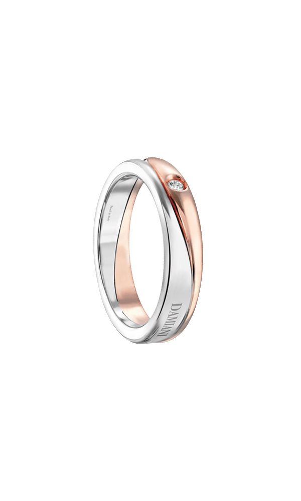 Incontro white and pink gold wedding band with external diamond