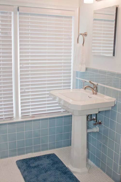 Classic blue bathroom remodel, via Retro Renovation- good idea for the upstairs bathroom
