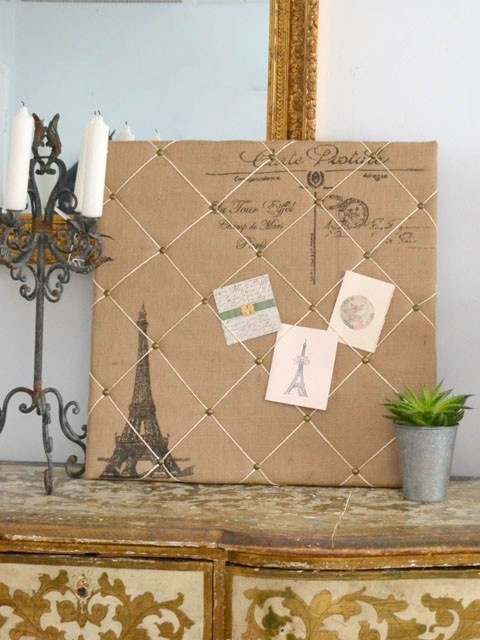 Burlap La Tour Eiffel Tower Memo Board · Diy Home CraftsBurlap ...