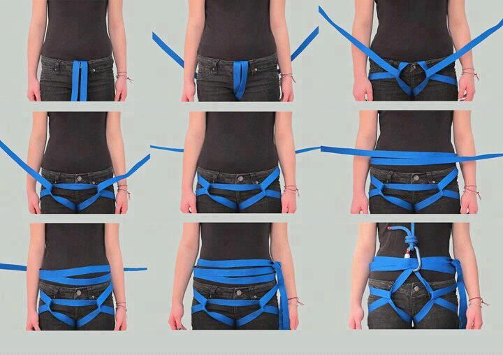 Here is a great photo tutorial about how to improvise a survival climbing harness.  Found at: http://www.facebook.com/IloooveClimbing