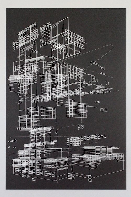 Line objects 1 architectural silkscreen print by benkafton on Etsy, $60.00