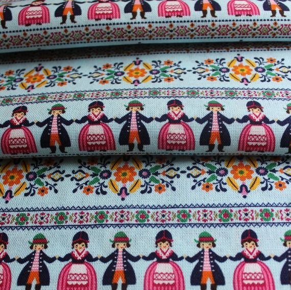 Scandinavian Fabric, Folk Fabric, Swedish Fabric.