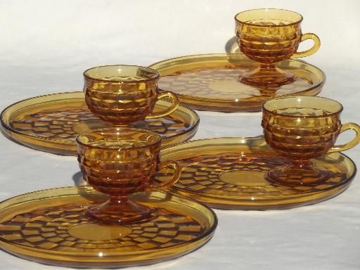 whitehall colony glassware | Whitehall Colony glass cube snack sets cups & plates, retro amber gold ...