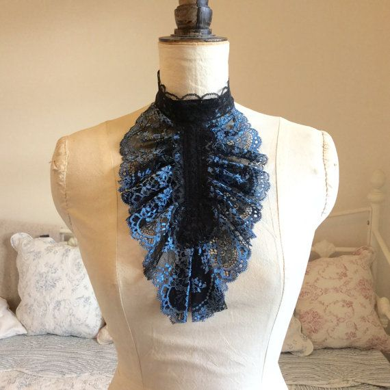 Black n' Blue lace jabot neck ruff. by talulahblue on Etsy