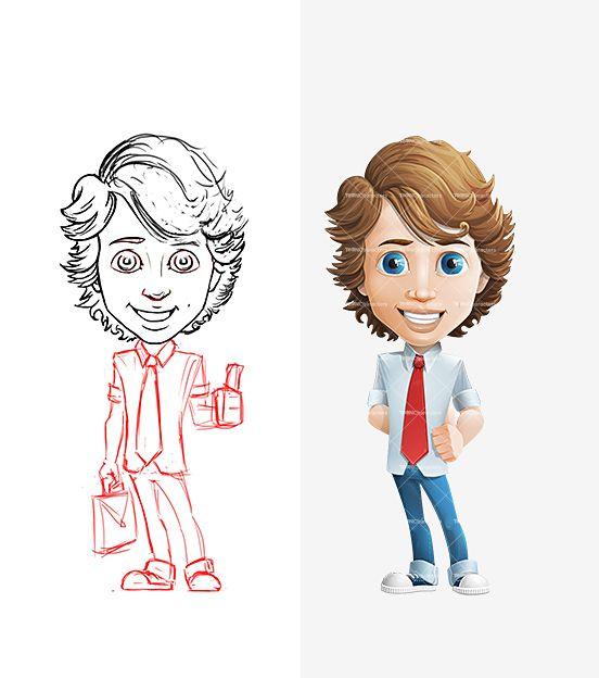 Yuppie Cartoon Character Set Pencil Drafts Male