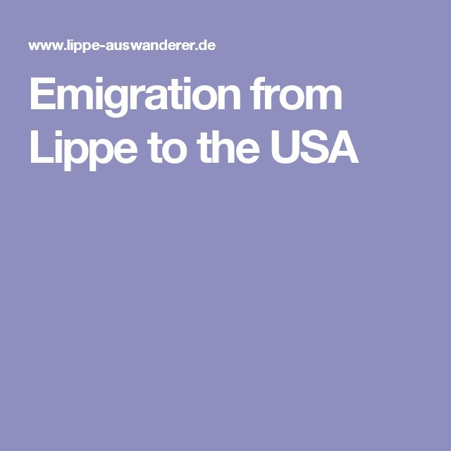 Emigration from Lippe to the USA