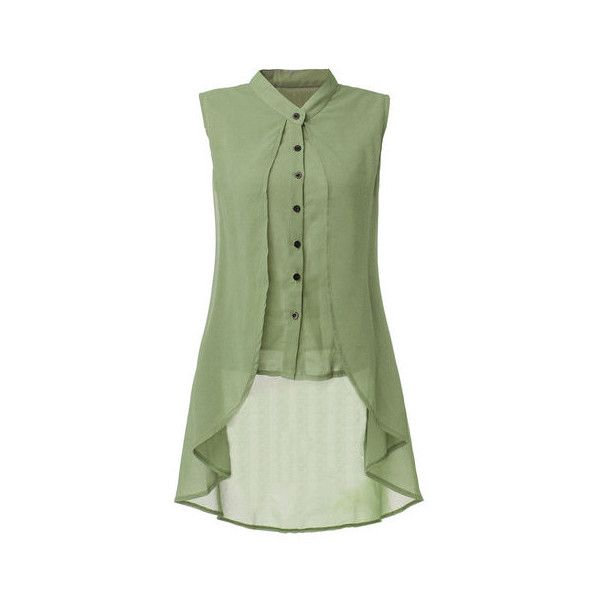 Women Sleeveless V Neck Button Pure Color Irregular Hem Chiffon Vest... ($9.99) ❤ liked on Polyvore featuring tops, blouses, blouses & shirts, green, long shirts, sleeveless shirts, sleeveless collared shirt, green collared shirt and v neck shirts