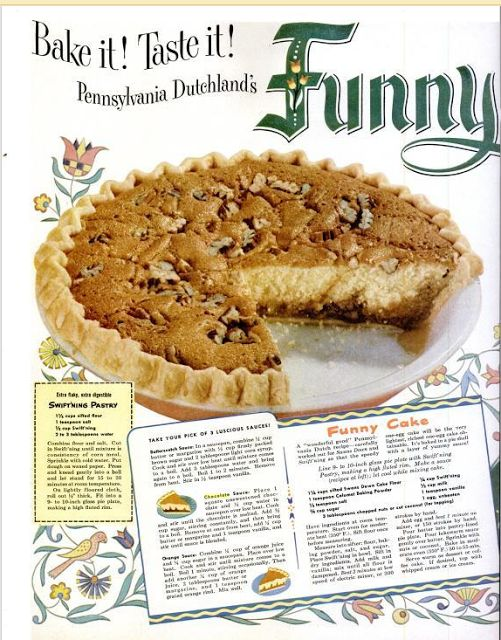 Colonial Inn Keeper's Pie (also known as Funny Cake or Pake). alternate here: https://www.hersheys.com/recipes/recipe-details.aspx?id=3165=innkeeper-pie or here: http://www.bettycrocker.com/recipes/colonial-innkeepers-pie-funny-cake/25316196-42a0-4150-a49b-162dbb18e84e