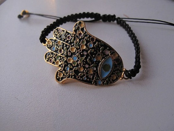 Enamelcoated gold plated hamsaevil eye by galladesign on Etsy, $25.00