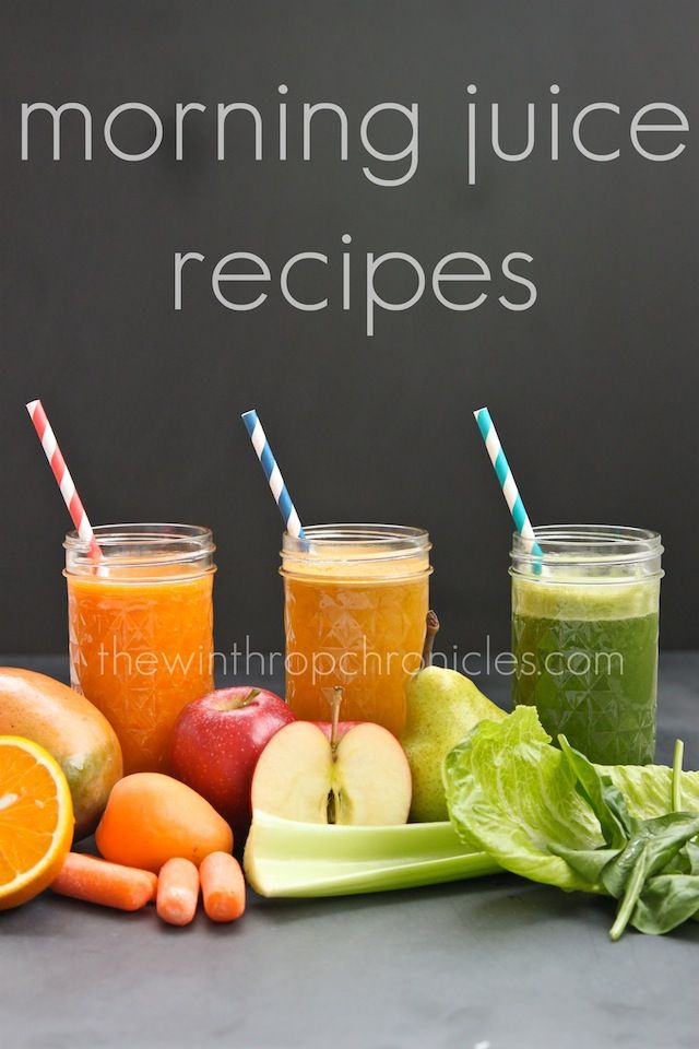 Juice #1: mango, carrot, apricot, celery, orange  Juice #2: carrot, celery, orange, apple  Juice #3: romane lettuce, spinach, pear, apple
