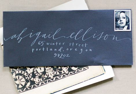 calligraphy.: Christmas Cards, Hands Written, Envelopes, Calligraphy, Hands Letters, Snow, Wedding Invitations, Handwriting, White Ink