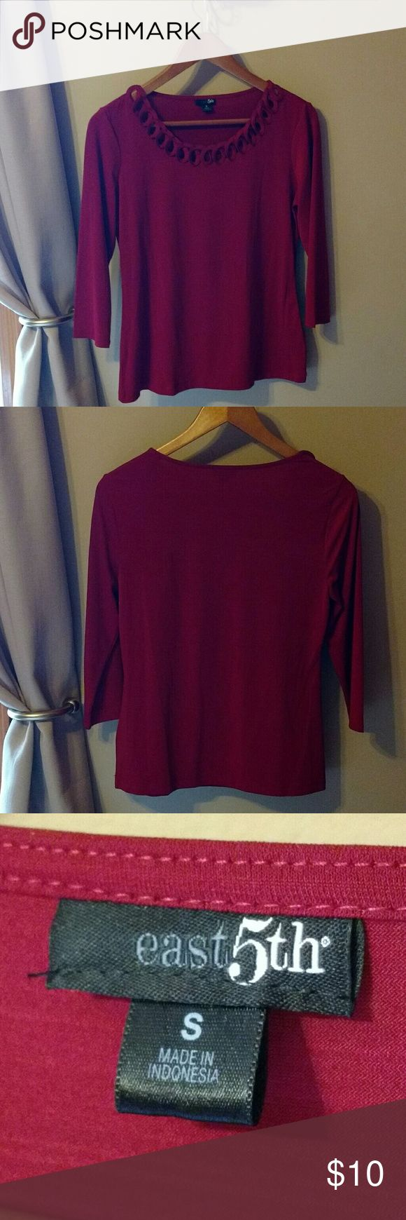 Burgundy dress shirt Never worn very cute shirt, stretchy polyester/spandex.  Cute cut-hole detail. East 5th Tops Blouses