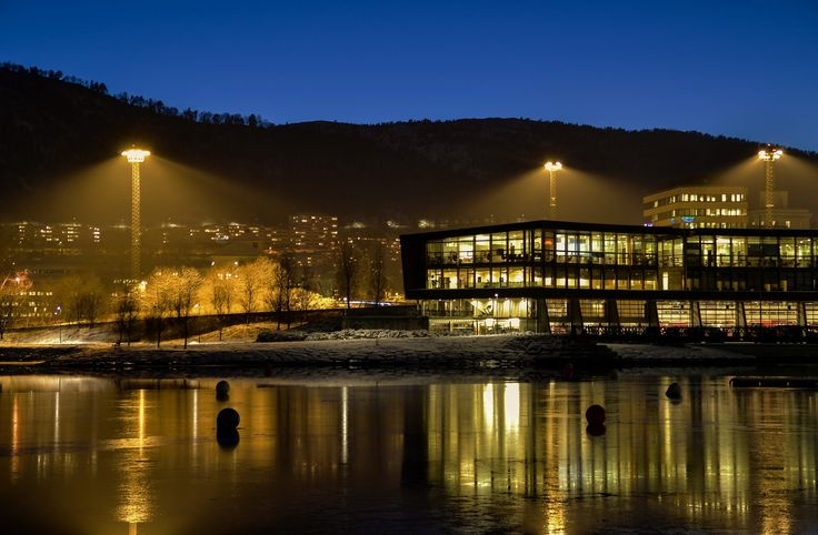 The lights of Bergen's new fire station and the motorway beside Store Lungegårdsvatnet in central Bergen in January of this year…