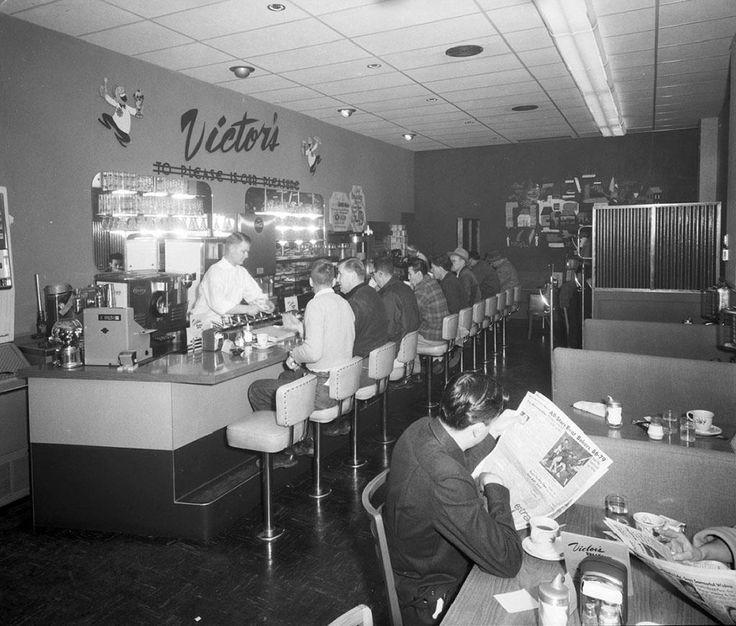 Interior of Victor's Restaurant, Seattle, WA, 1955