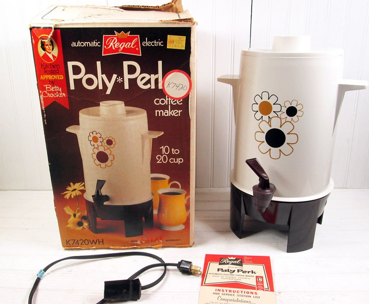 Automatic Electric Coffee Maker : Vtg Regal Poly Perk Percolator 20 Cup Automatic Electric Coffee Maker Pot In Box Vintage ...