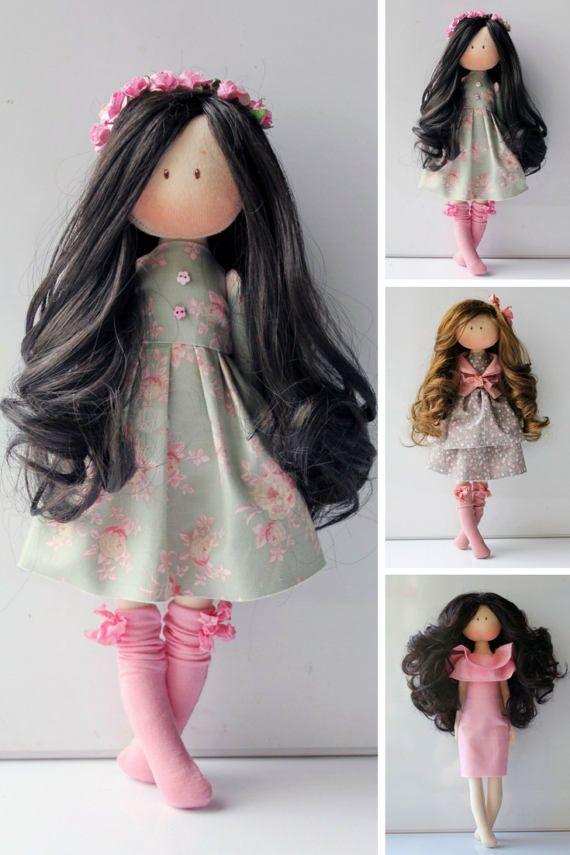 Cloth doll Rag doll Fabric doll Pink doll by AnnKirillartPlace