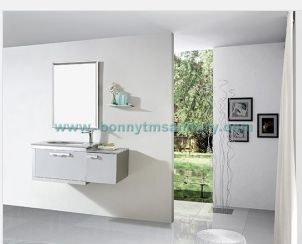 D-8406  Wall mounted Modern White stainless steel bathroom cabinet with square frame mirror