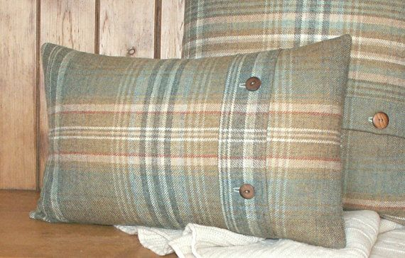 Pure Wool Tweed / Plaid / Tartan Cushion / Lumbar by maisiev, £35.00 More