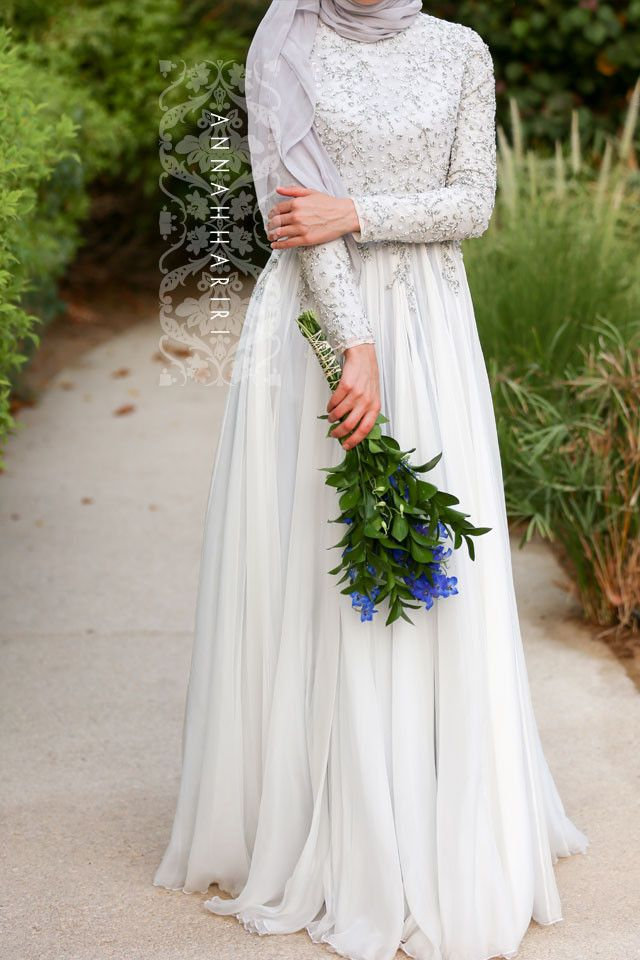 Delphinium Gown is back in stock improved! Dedicated artisans and tailors work on each dress now - hand beaded top, fully hand made islamic wedding dress #modest #bride