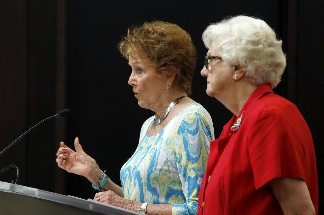 Maricopa County Recorder Helen Purcell, left, speaks as Maricopa County Elections Director Karen Osborne, right, waits her turn at a Maricopa County Board of Supervisors meeting Wednesday, March 30, 2016, in Phoenix. Officials have certified the results from the Arizona presidential primary that was marred by long lines at the polls last week.