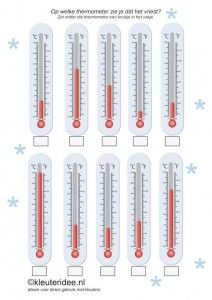 Op welke thermometer zie je dat het vriest, kleuteridee.nl ,thema Noordpool & Zuidpool,  In what thermometer you see that it freezes , free printable.