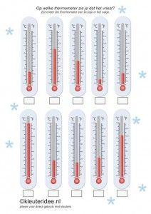 Op welke thermometer zie je dat het vriest, kleuteridee.nl ,thema Noordpool & Zuidpool,  In what thermometer you see that it freezes , free printable.