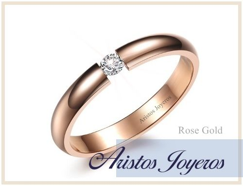 Anillo especial de tensión en oro rosado y diamante brillante!