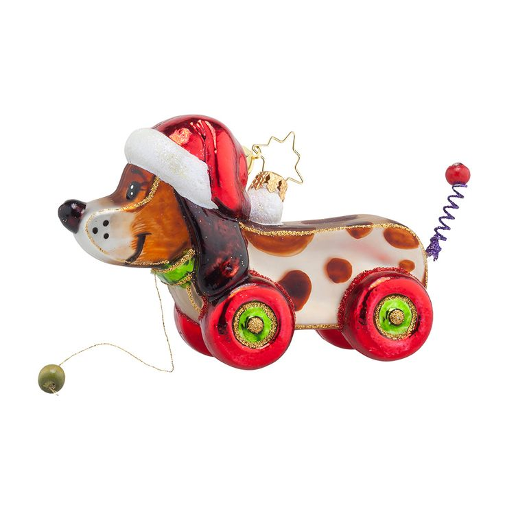 Christopher Radko Ornaments 2015 | Radko Pullin' Pup Ornament