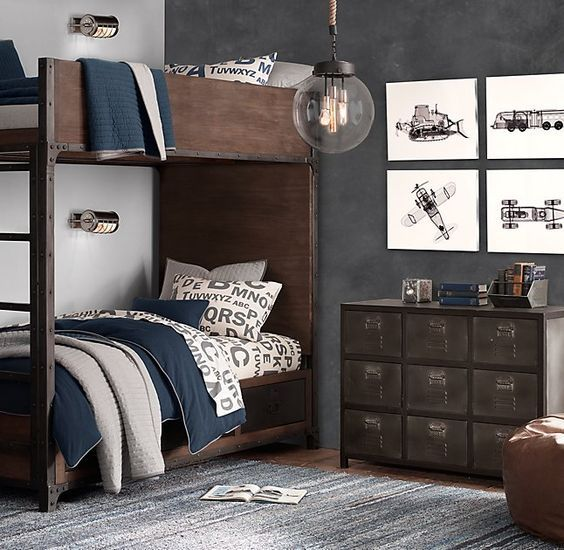 tween and teen boys bedroom gray and navy decor maybe do built in lights over - Teen Boy Room Decorating