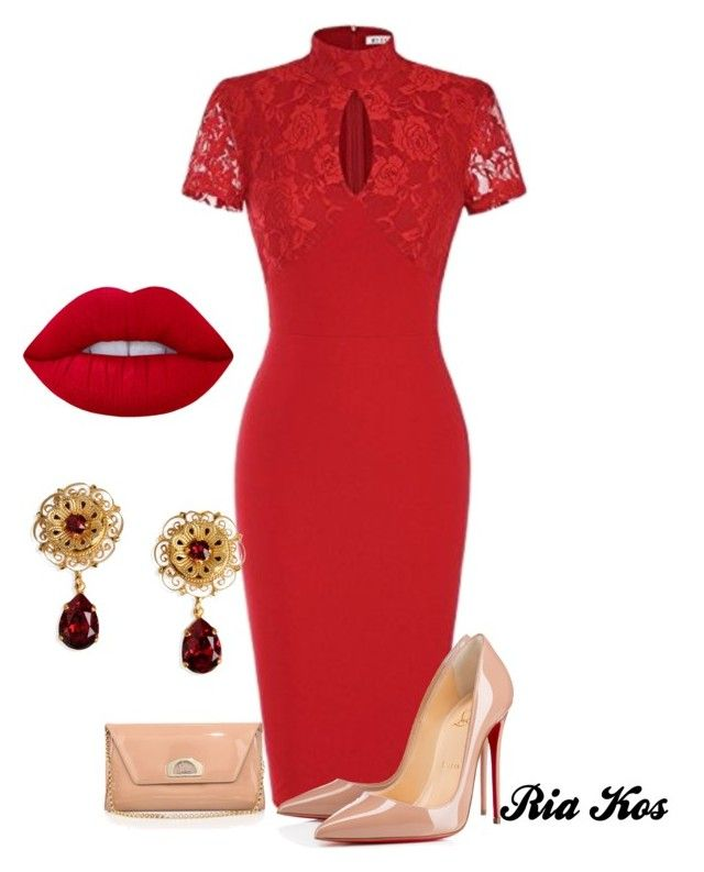 red dress by ria-kos on Polyvore featuring Christian Louboutin, Dolce&Gabbana and Lime Crime