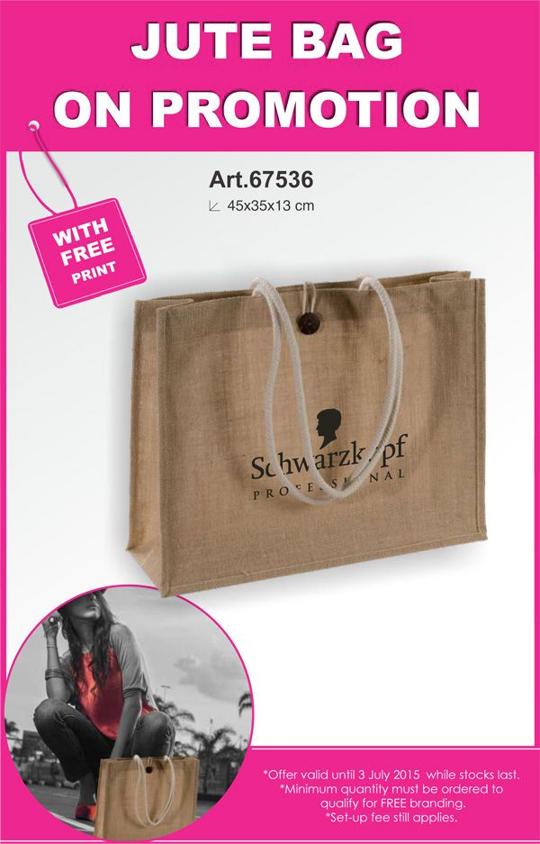Jute bag on promotion - with free print.  Contact us for a fast quote - linda@lindajacobspromotions.co.za - you won't get anyone with more experience still in the trade!  :)