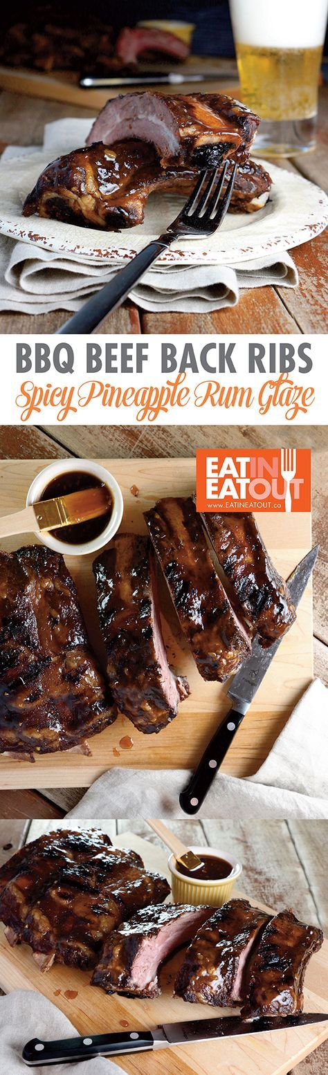 Get your grill on with these Big BBQ Beef Ribs with Spicy Pineapple Rum Glaze! #NFL #football #cfl