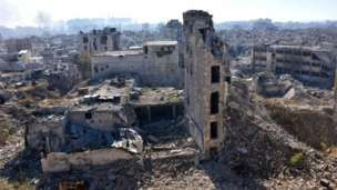 A general view shows damaged buildings in the Qastal al-Harami neighbourhood of Aleppo's Old City on 9 December 2016.
