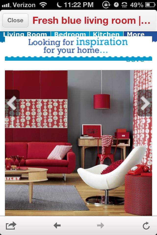 Living Room Inspiration Red Gray