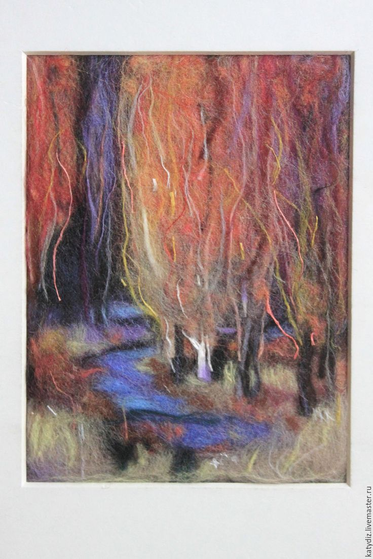 """Купить Картина из шерсти """"Осенний пейзаж"""" - картина из шерсти, шерстяная акварель, овечья шерсть"""