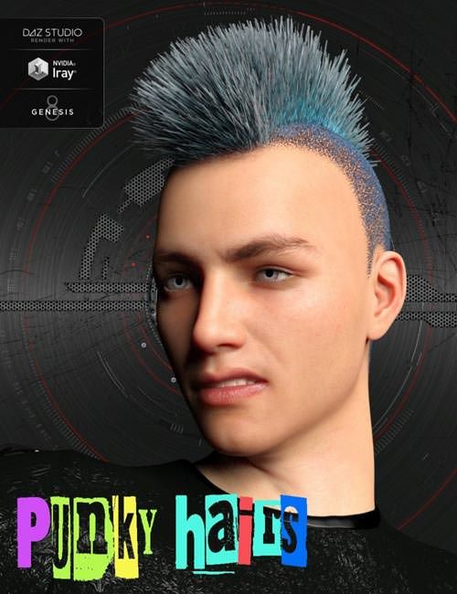 Download 3D Model  Punky Hair Styles for Genesis 8 Male(s) Free