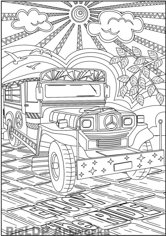 Printable Philippine Jeepney Coloring Page For Adult Colouring Poster