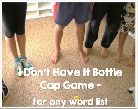 Bottle Cap Game Freebie for ANY word list: spelling words, vocabulary words, sight words and more.