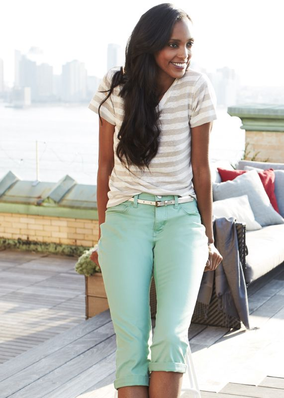 #mint capris and striped top