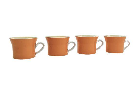 Mid Century Modern Mikasa Orange Coffee Cups Retro Coffee