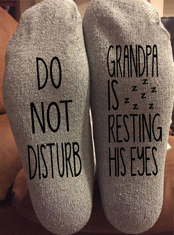 Do Not Disturb Grandpa is Resting His Eyes Gray Mens Novelty Crew Socks Birthday Grandparents Day Christmas Fathers Day Gift Sz 12-15  Awesome, fun mens novelty crew length socks! Put these on and let the grandkids know grandpa is resting his eyes! These socks are a cotton/poly/spandex blend. They are moisture wicking with a cushioned sole and comfort toe seam. For mens shoe sizes 12-15 The lettering is heat transfer stretch vinyl, securely adhered with a professional heat press.  E...