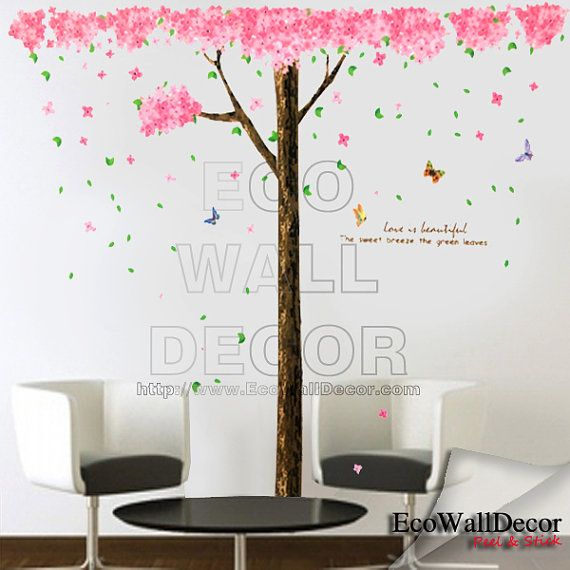 Peel and stick kids nursery removable vinyl wall sticker for Cherry blossom tree wall mural