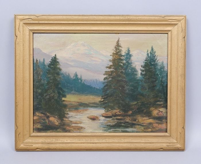 This is a handsome estate found oil painting by the listed American artist David Stirling (1887-1971). This painting on canvas features a wilderness landscape scene with evergreens and snowy Rocky Mountains rising up in the background. | eBay!