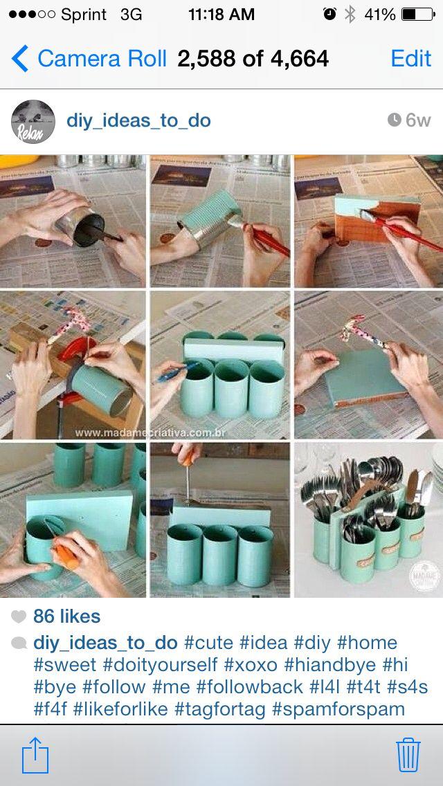 Shabby chic DIY utensil holder