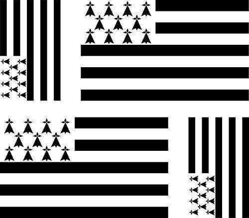 4 x Autocollant sticker voiture moto valise pc portable drapeau bretagne breton: Taille des stickers : 2 stickers de taille 100mm x 60mm 2…