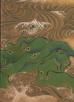 Detail. Waves at Matsushima. Artist:Suzuki Kiitsu (Japanese, 1796–1858) Period:Edo period (1615–1868) Date:ca. 1832–36 Culture:Japan Medium:Pair of small sliding doors (kobusuma); ink and color on paper