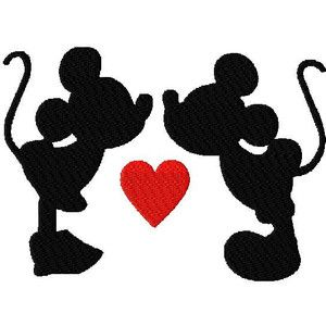 Walt Disney Mickey Mouse and Minnie Kissing in Silhouette Va ...